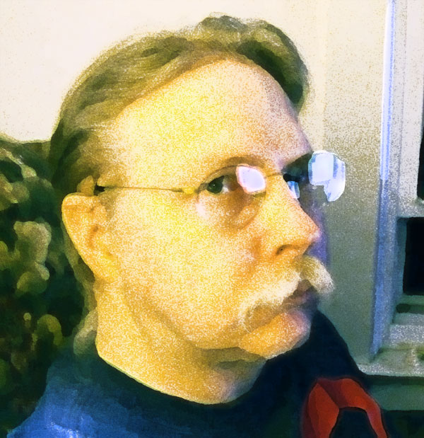 Tried taking a picture of myself but it came out much to yellow and orangery. So I did what anyone armed with Photoshop would do. I filtered the crap out of it.
